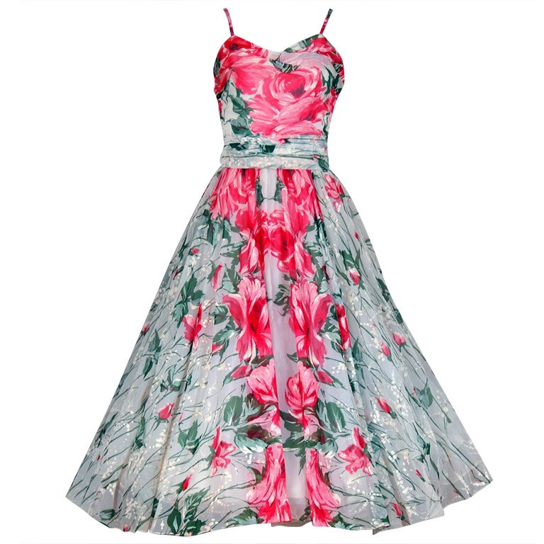 1950's Emma Domb Pink-Roses Floral Print Chiffon Party Dress 1