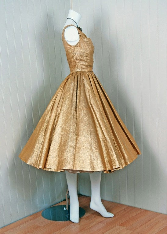 Women's 1950's Nathan Strong Metallic-Gold Lame Bombshell Party Dress For Sale