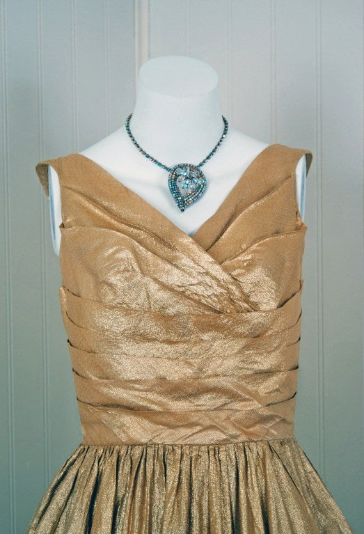 1950's Nathan Strong Metallic-Gold Lame Bombshell Party Dress For Sale 1