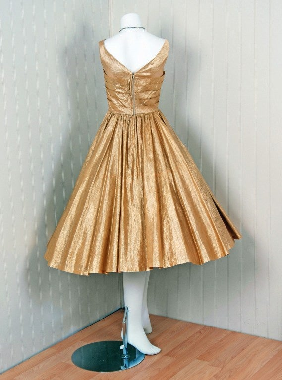 1950's Nathan Strong Metallic-Gold Lame Bombshell Party Dress For Sale 2