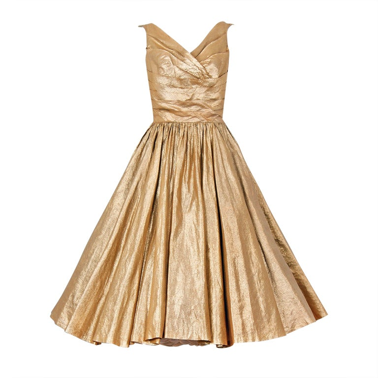1950's Nathan Strong Metallic-Gold Lame Bombshell Party Dress For Sale