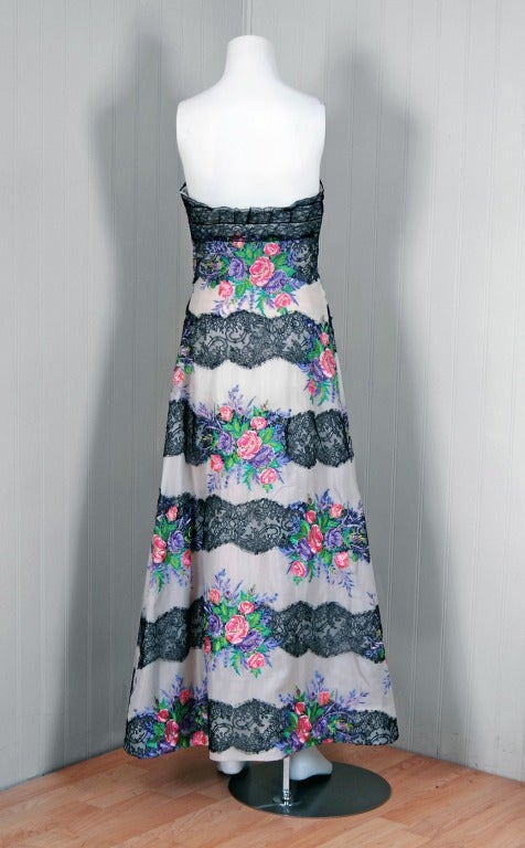 Women's 1960's Metallic Embroidered-Floral Silk & Lace Strapless Hourglass Garden Gown For Sale