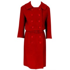 1957 Christian Dior Haute-Couture Red Wool Double-Breasted Dress Suit Ensemble