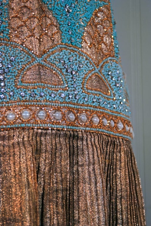 1920's French Metallic-Gold Lame Beaded Pleated Flapper Dress 2
