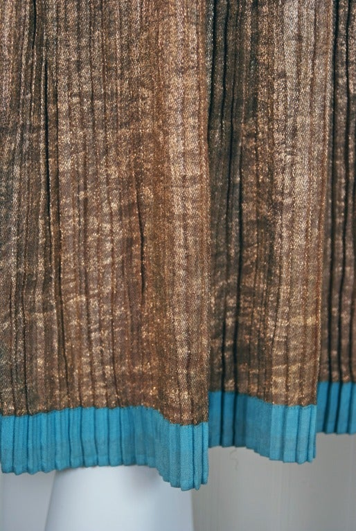 1920's French Metallic-Gold Lame Beaded Pleated Flapper Dress 4