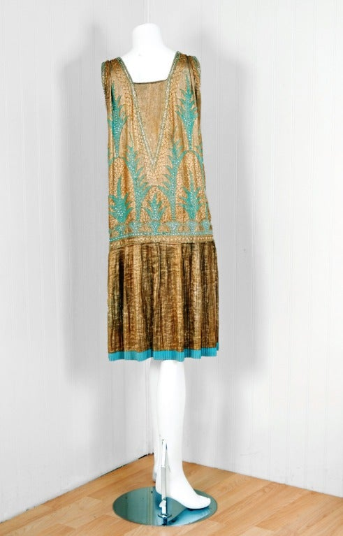 1920's French Metallic-Gold Lame Beaded Pleated Flapper Dress 5