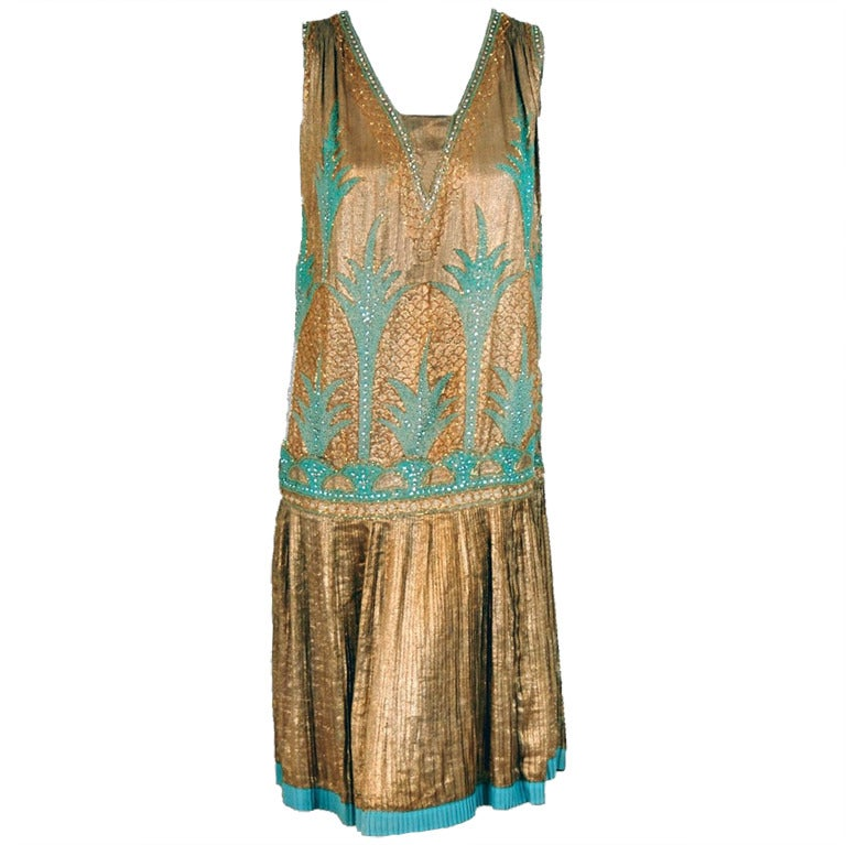 1920's French Metallic-Gold Lame Beaded Pleated Flapper Dress 1