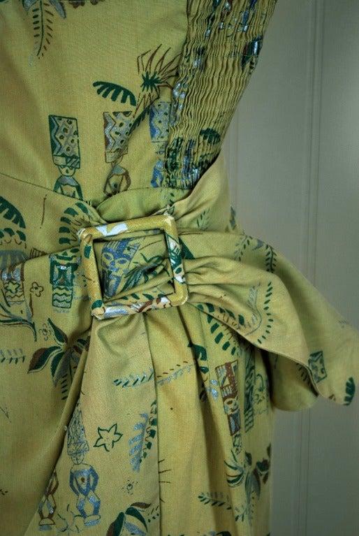 1950 S Alfred Shaheen Hawaiian Sage Green Wiggle Sarong