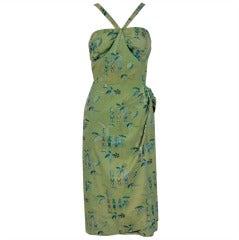 1950's Alfred Shaheen Hawaiian Sage-Green Wiggle Sarong Dress