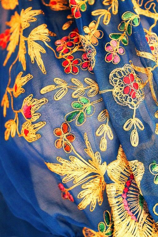 1940 S Royal Blue Embroidered Chiffon Shelf Bust Evening