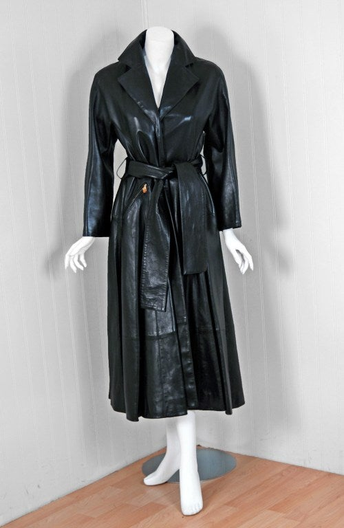 1990's Christian Dior Numbered Couture Leather Trench Coat image 2