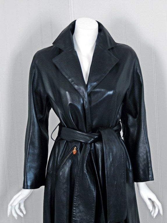 1990's Christian Dior Numbered Couture Leather Trench Coat image 3