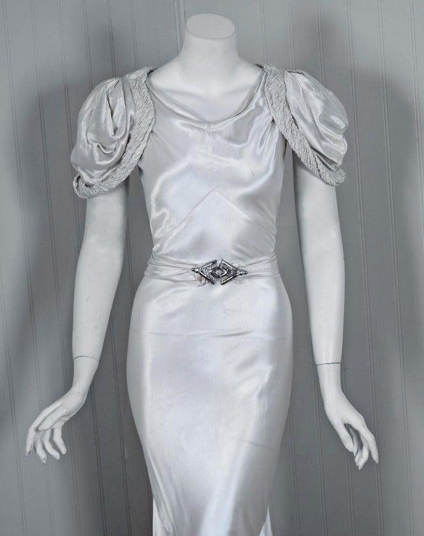 1930's White Silk-Satin Hourglass Bias-Cut Deco Evening Gown 2
