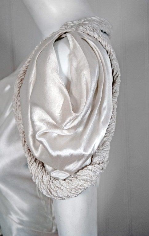 1930's White Silk-Satin Hourglass Bias-Cut Deco Evening Gown 3