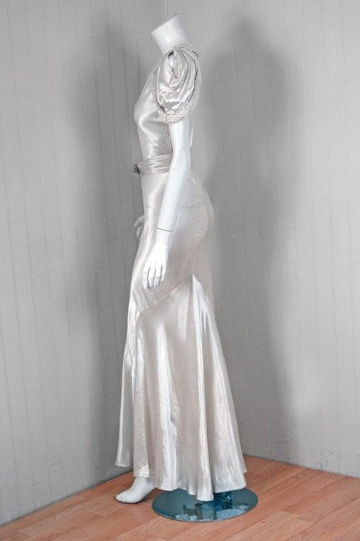 1930's White Silk-Satin Hourglass Bias-Cut Deco Evening Gown 4