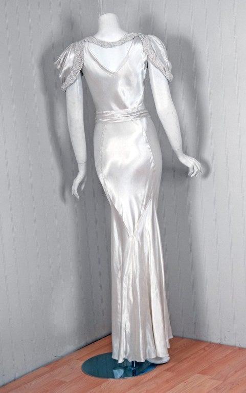 1930's White Silk-Satin Hourglass Bias-Cut Deco Evening Gown 5
