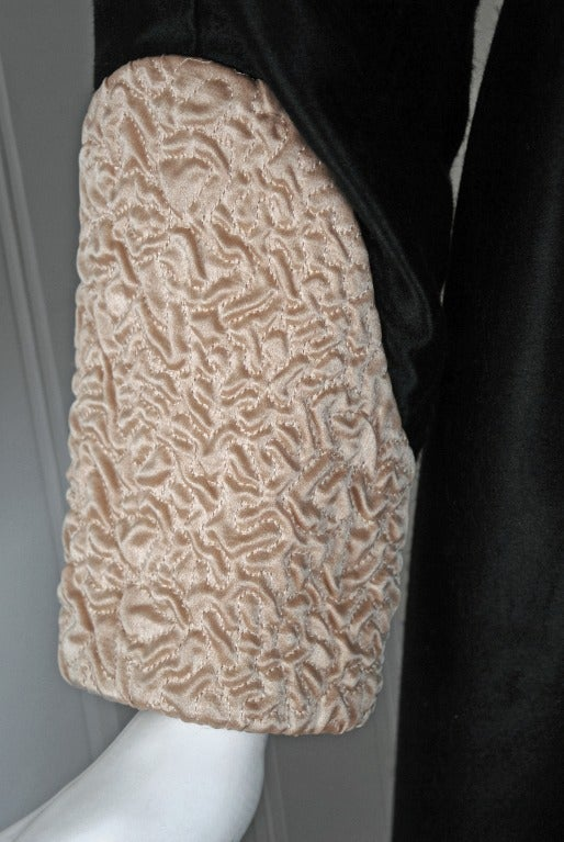 1970's Geoffrey Beene Black & Ivory Embroidered Silk Mod Babydoll Tent Dress 4