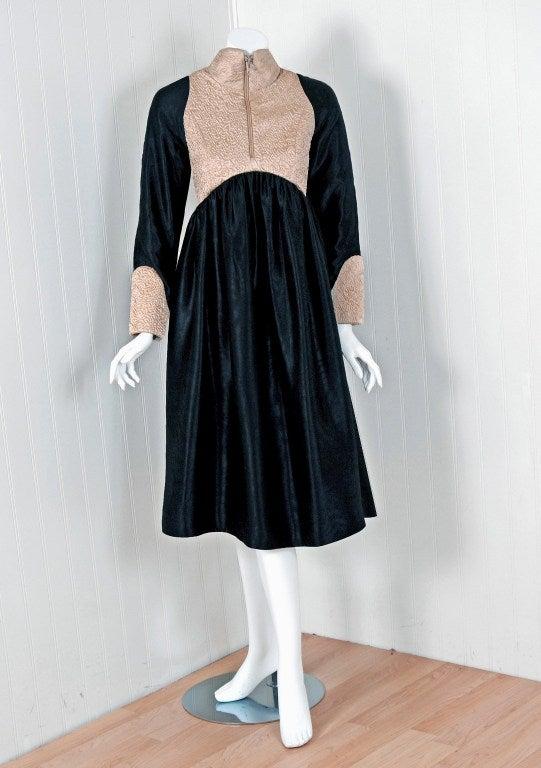 1970's Geoffrey Beene Black & Ivory Embroidered Silk Mod Babydoll Tent Dress 2