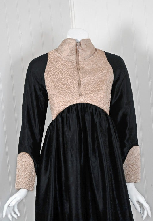 1970's Geoffrey Beene Black & Ivory Embroidered Silk Mod Babydoll Tent Dress 3
