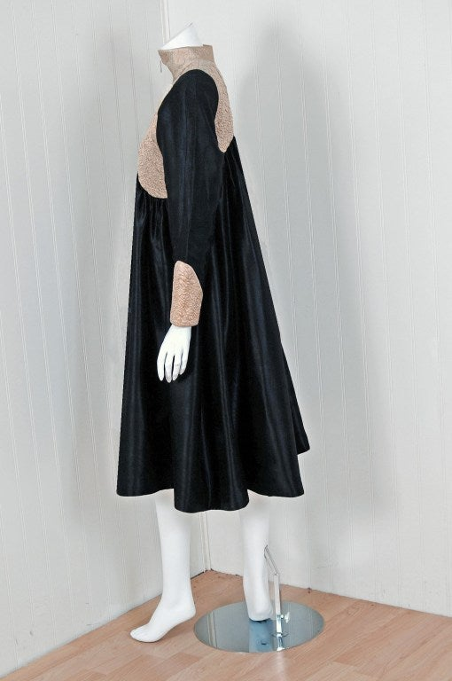 1970's Geoffrey Beene Black & Ivory Embroidered Silk Mod Babydoll Tent Dress 5