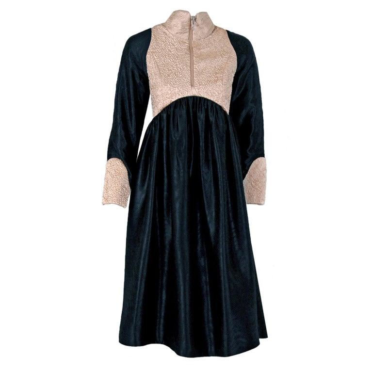 1970's Geoffrey Beene Black & Ivory Embroidered Silk Mod Babydoll Tent Dress 1