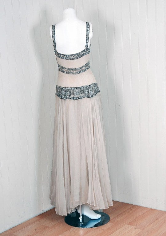 1930's Jay Thorpe Ivory Beaded Silk Bias-Cut Goddess Gown 5