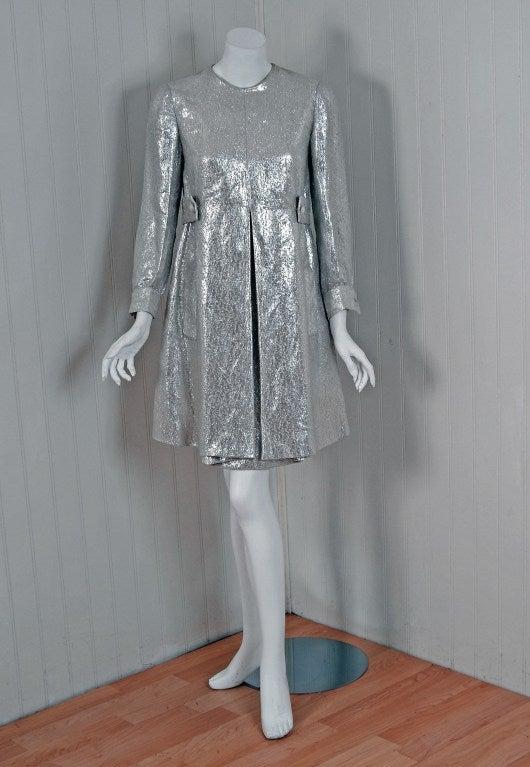 1966 christian dior haute couture metallic silver lame for Dior haute couture dress price