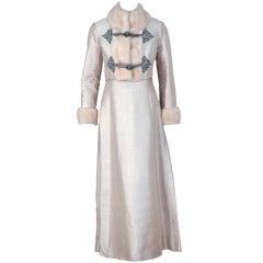 1960's Victoria Royal Ivory Beaded Silk-Dupioni Evening Gown & Mink-Trim Jacket