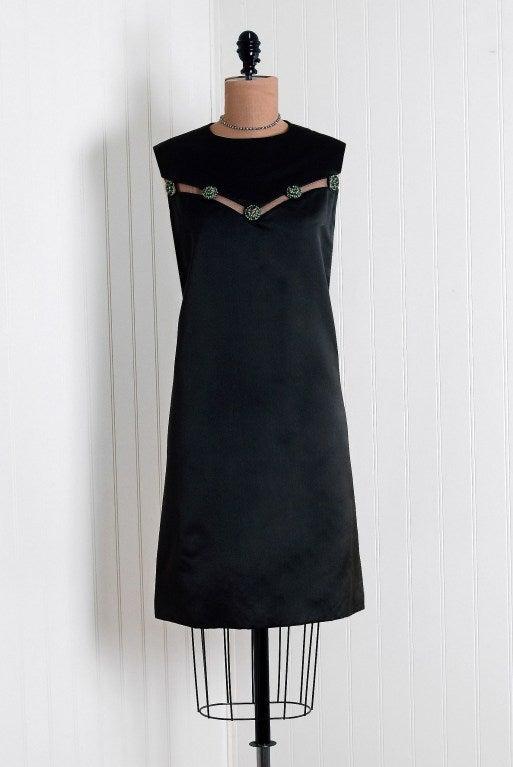 1960's Christian Dior Rhinestone Illusion Silk-Satin Mod Dress 2
