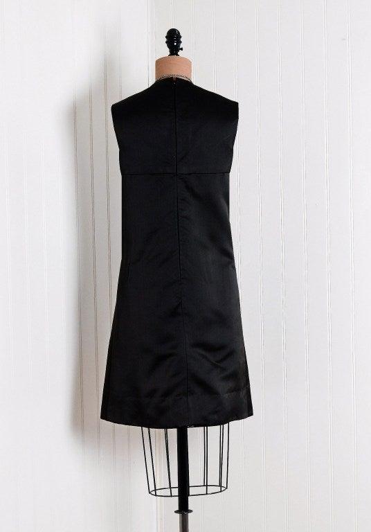 1960's Christian Dior Rhinestone Illusion Silk-Satin Mod Dress 5