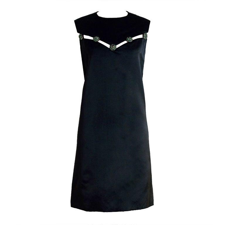 1960's Christian Dior Rhinestone Illusion Silk-Satin Mod Dress 1