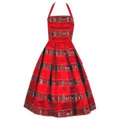 1950's Novelty Roman-Empire Red Print Satin Halter Dress & Jacket