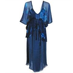 1970's Bohemian Blue Pure-Silk Print Dress & Angel-Sleeve Jacket