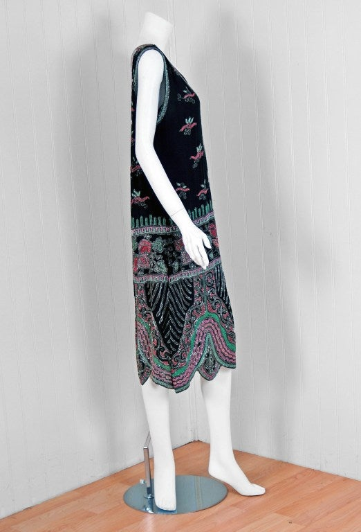 1920's French Couture Pink & Green Beaded Floral-Motif Silk Deco Flapper Dress 2