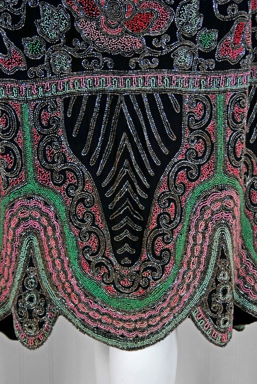 1920's French Couture Pink & Green Beaded Floral-Motif Silk Deco Flapper Dress 4