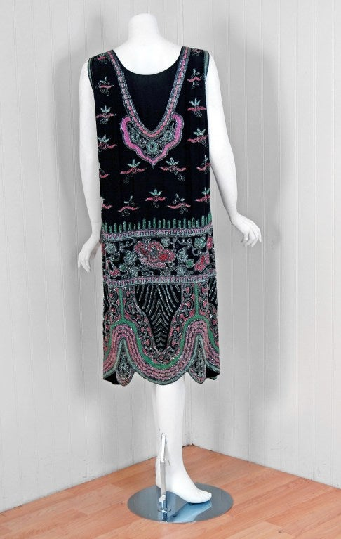 1920's French Couture Pink & Green Beaded Floral-Motif Silk Deco Flapper Dress 6