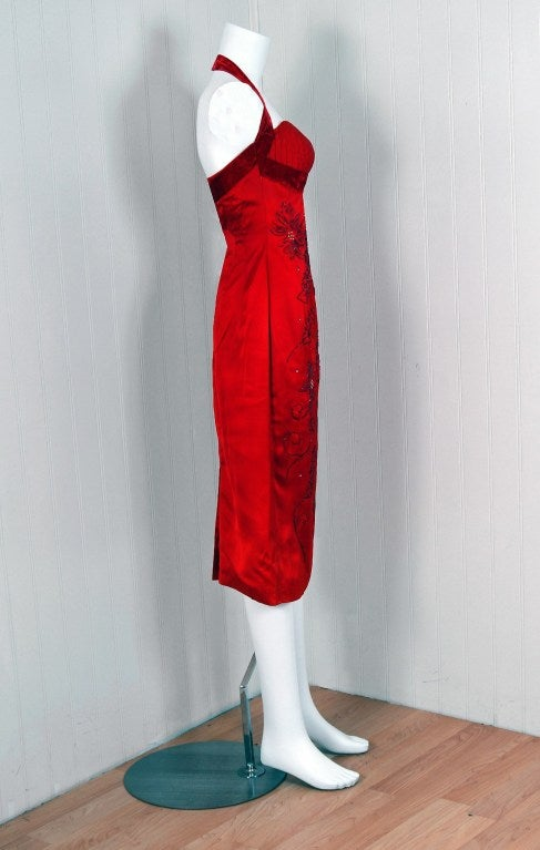 1950's Ruby-Red Beaded Satin Shelf-Bust Halter Cocktail Dress 4