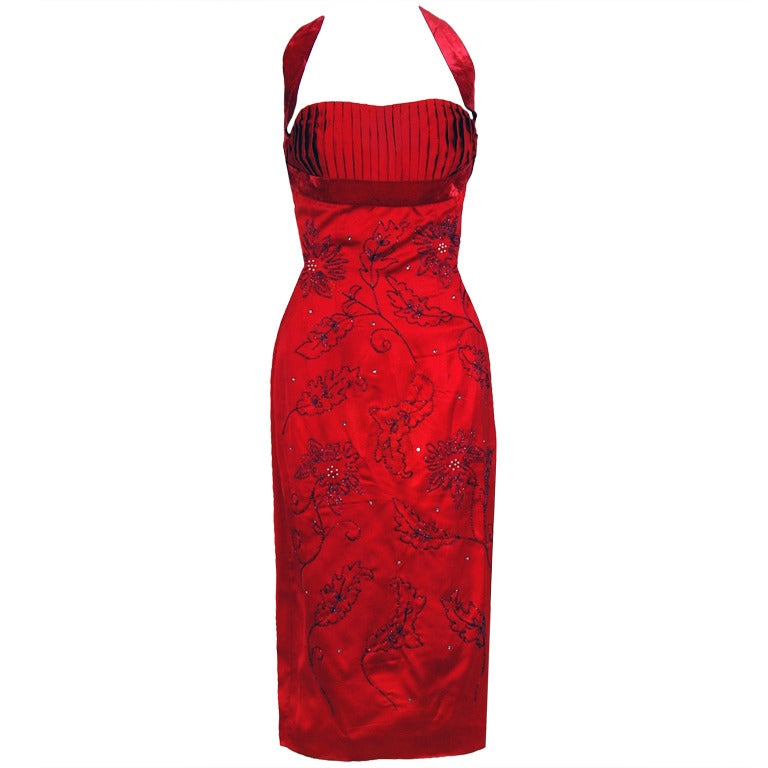 1950's Ruby-Red Beaded Satin Shelf-Bust Halter Cocktail Dress 1
