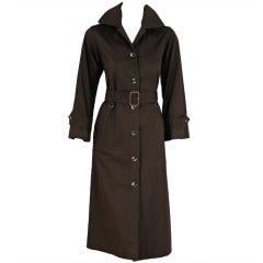 1970's Yves Saint Laurent Chocolate Brown Cotton-Twill Belted Trench Coat