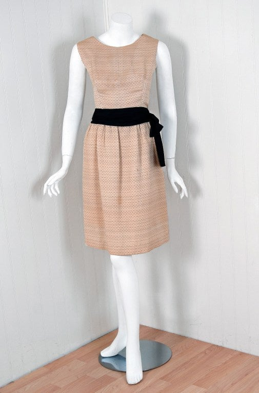 Beige 1962 Balenciaga Haute-Couture Ecru Silk Cocktail Party Dress & Matching Jacket For Sale