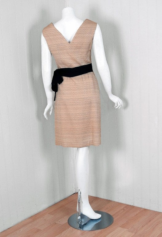 Women's 1962 Balenciaga Haute-Couture Ecru Silk Cocktail Party Dress & Matching Jacket For Sale