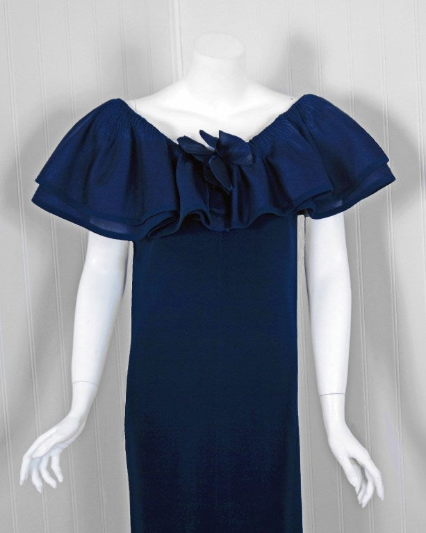 Black 1973 Pierre Balmain Haute Couture Navy Silk Pleated Petal Collar Column Gown For Sale