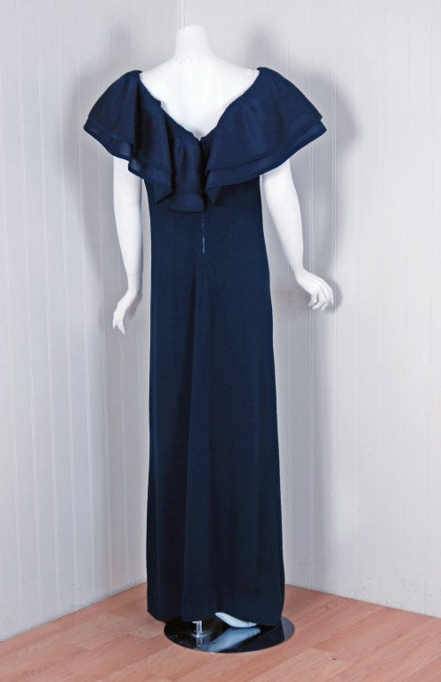 Women's 1973 Pierre Balmain Haute Couture Navy Silk Pleated Petal Collar Column Gown For Sale