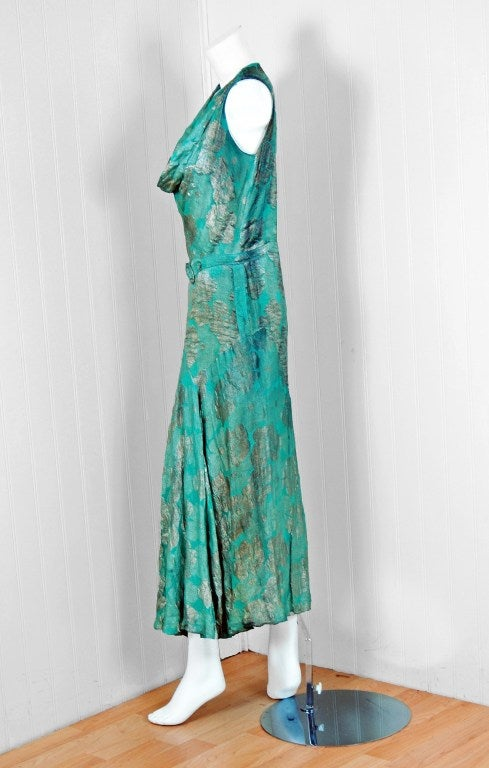1920's French Metallic Turquoise Blue Lame Evening Dress 2