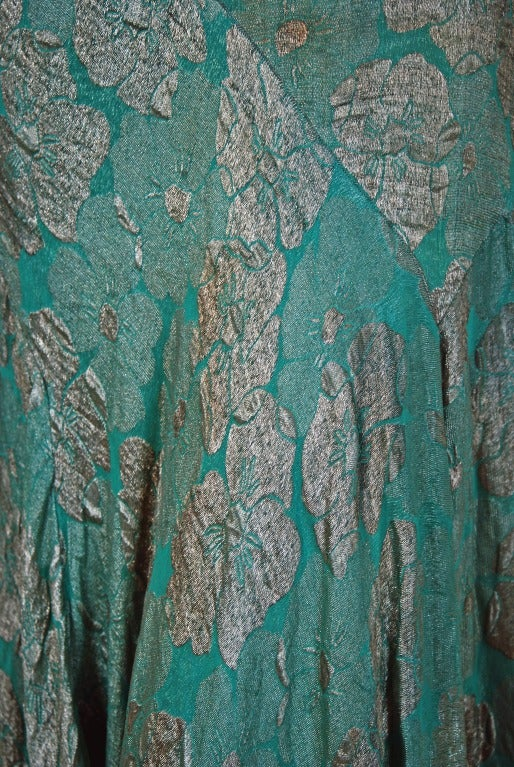 1920's French Metallic Turquoise Blue Lame Evening Dress 4
