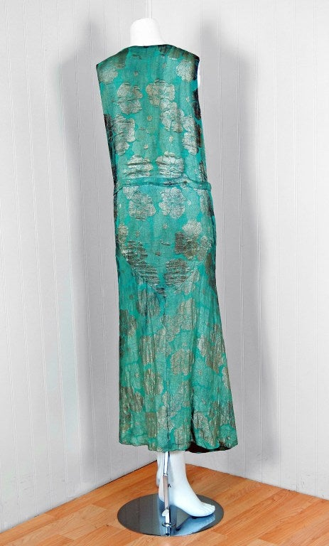 1920's French Metallic Turquoise Blue Lame Evening Dress 5
