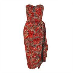 1940's Hawaiian Tropical-Floral Silk Strapless Sarong Dress Set