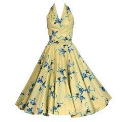1950's Poodle-Dogs Novelty Print Cotton Halter Circle-Skirt Dress
