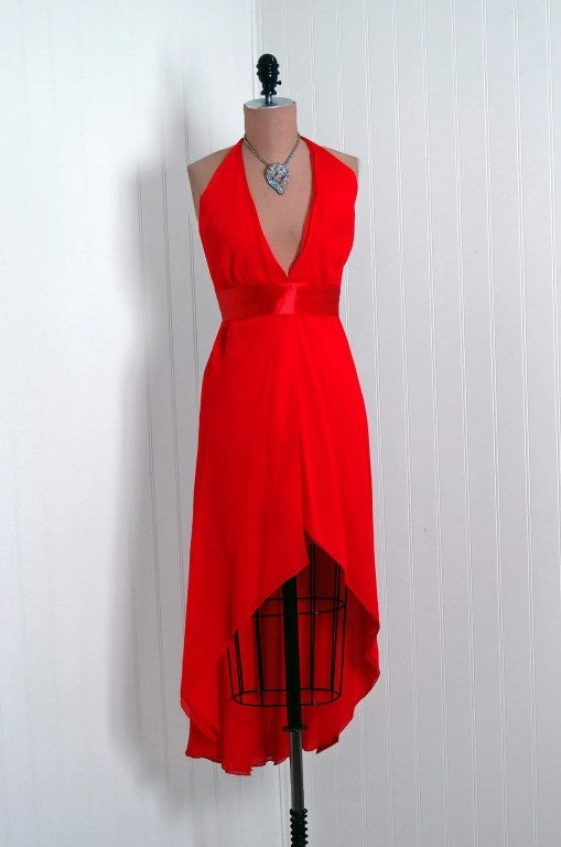 1970's Halston Low-Plunge Red Silk-Chiffon Halter Dress 2
