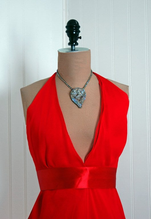 1970's Halston Low-Plunge Red Silk-Chiffon Halter Dress 3